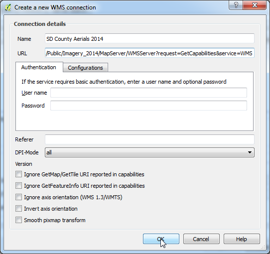 Create New WMS Connection